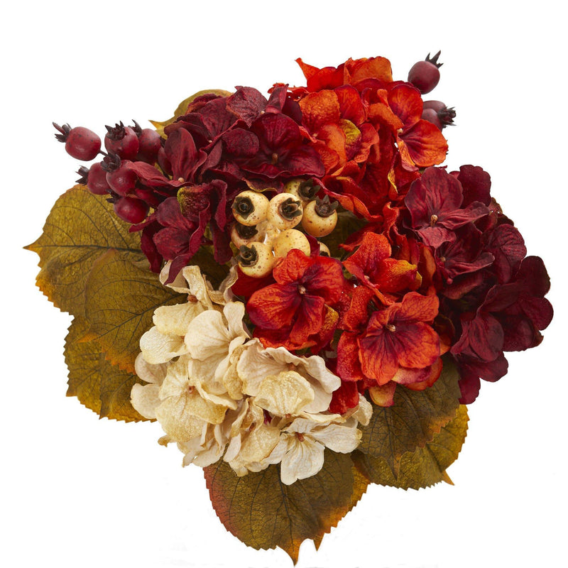 "16"" Autumn Hydrangea Berry Bouquet Artificial Flower (Set of 2)"