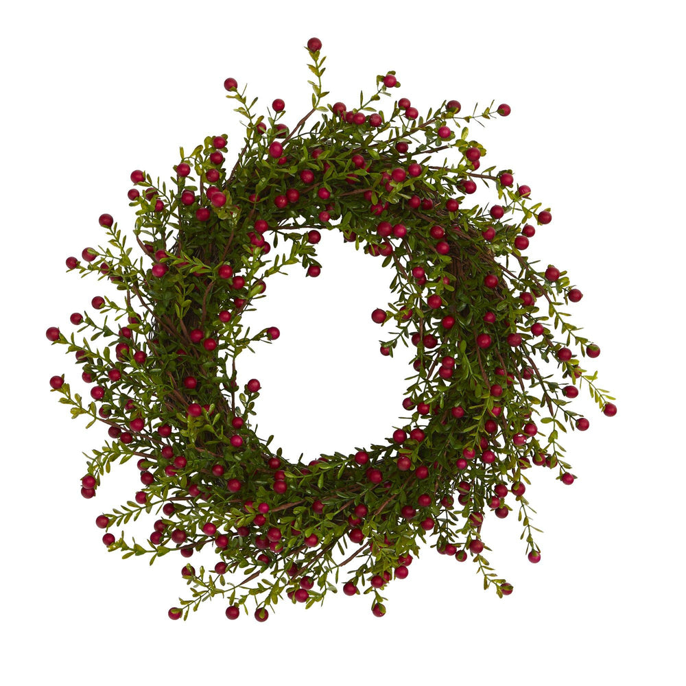 "16"" Boxwood and Berries Artificial Wreath"