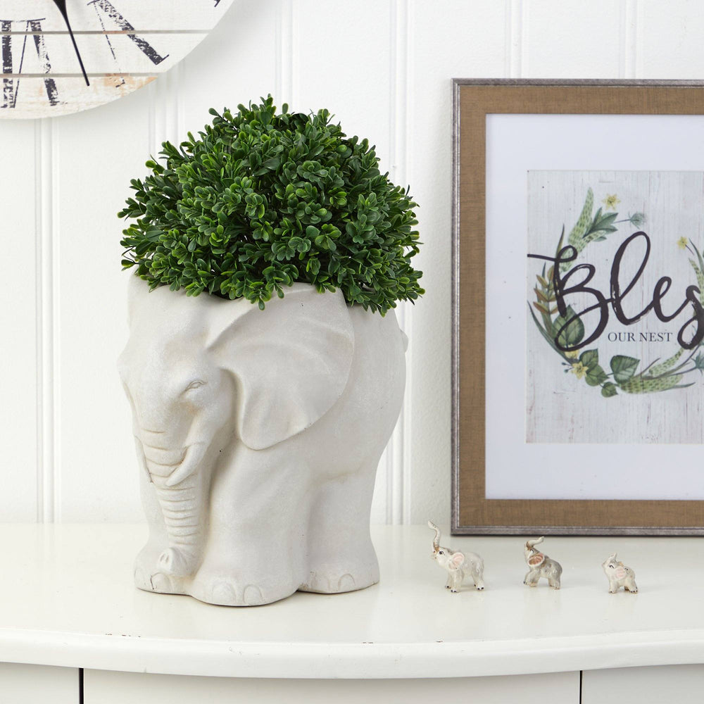 "16"" Boxwood Topiary Artificial Plant in Elephant Shaped Planter UV Resistant (Indoor/Outdoor)"