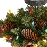 "16"" Flocked Artificial Christmas Pine Candelabrum with 35 Multicolored Lights and Pine Cones"