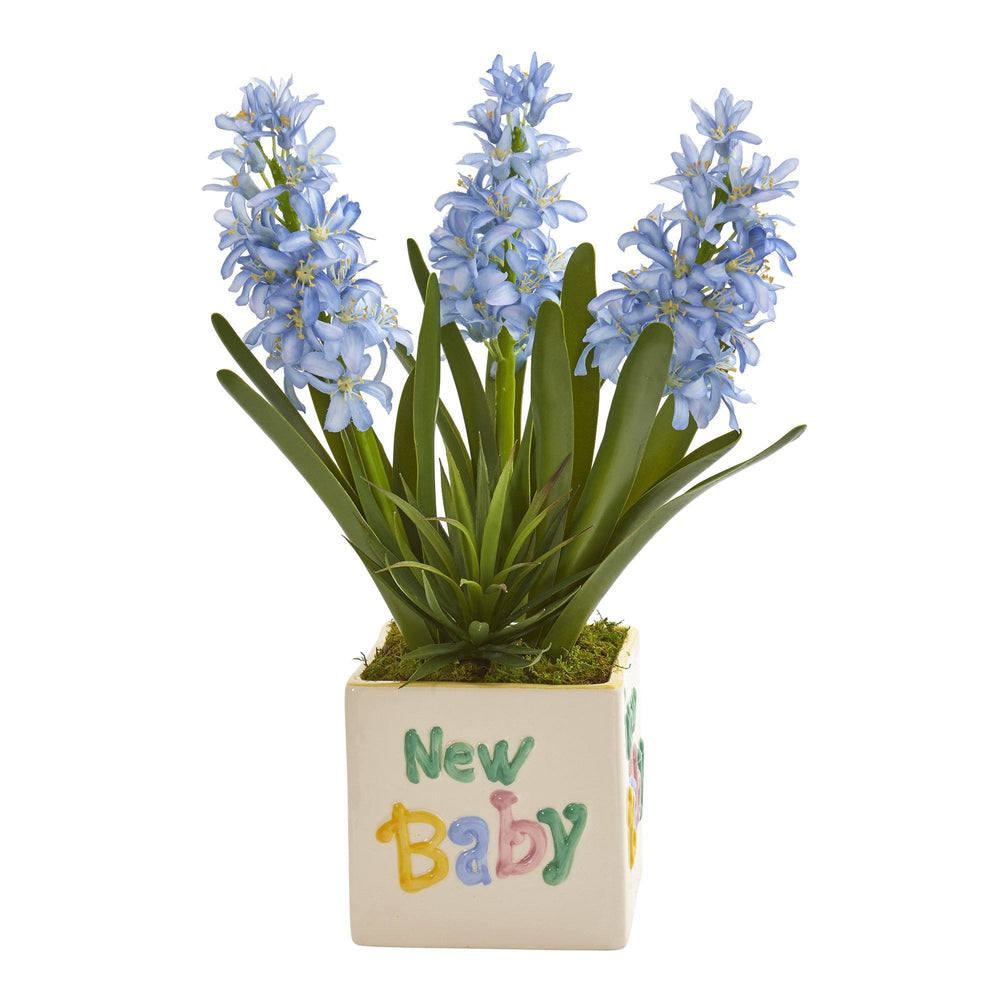 "16"" Hyacinth and Agave Artificial Plant in ""New Baby"" Planter"