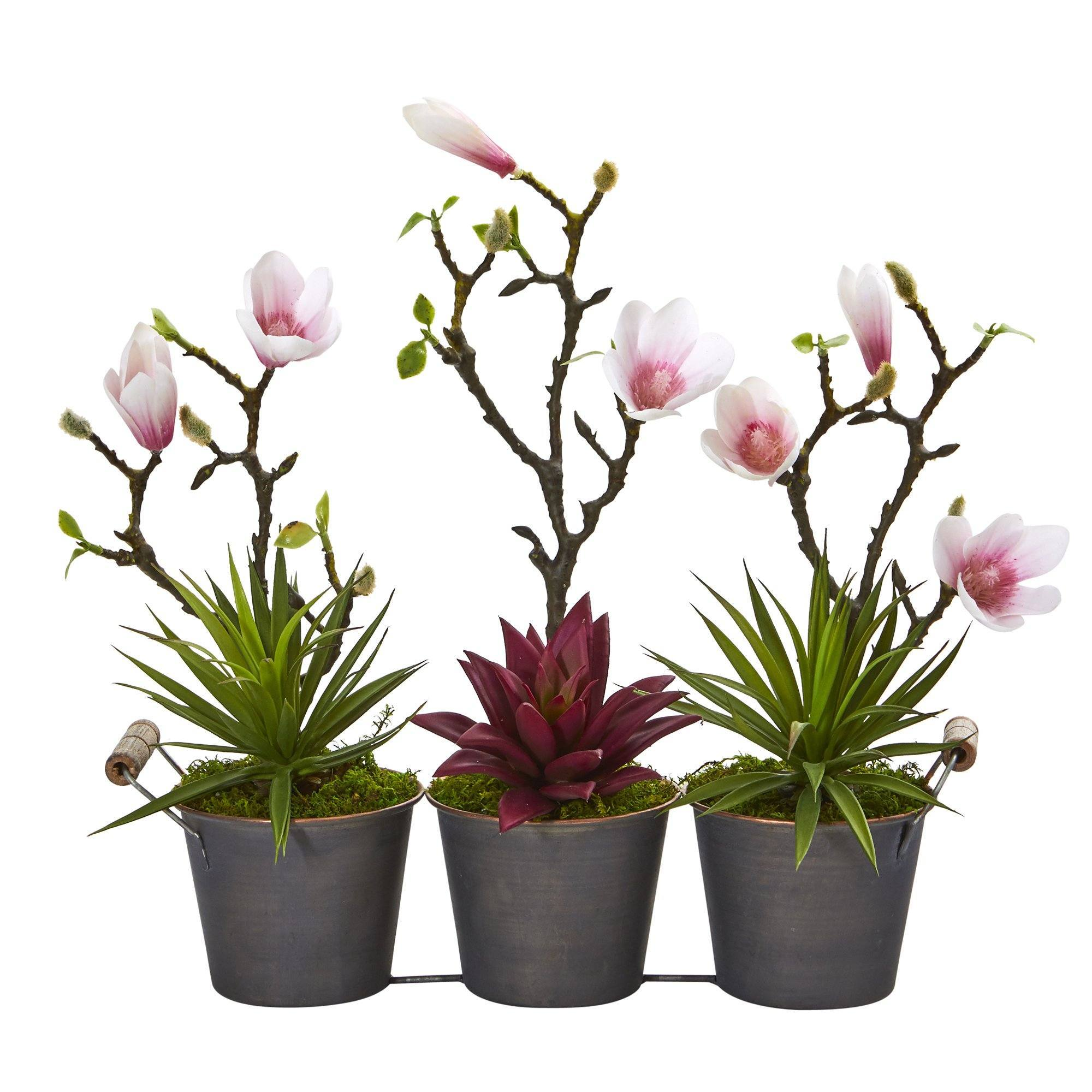 16 Magnolia And Succulent Artificial Arrangement In Trio Metal Planter Nearly Natural
