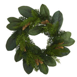 "16"" Magnolia Leaf and Mixed Pine Artificial Wreath with Pine Cones"