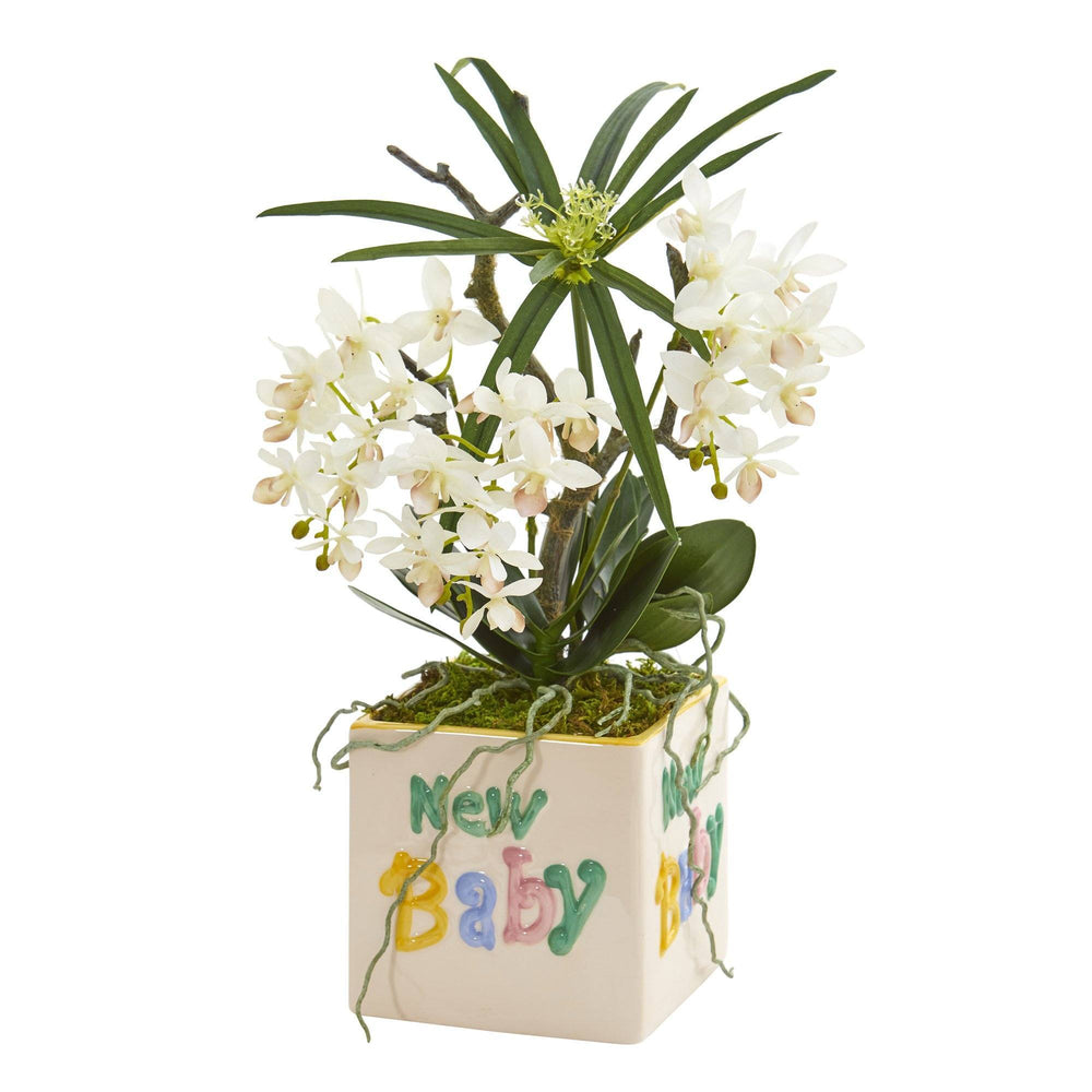 "16"" Orchid Phalaenopsis and Cyperus Artificial Arrangement in ""New Baby"" Vase"