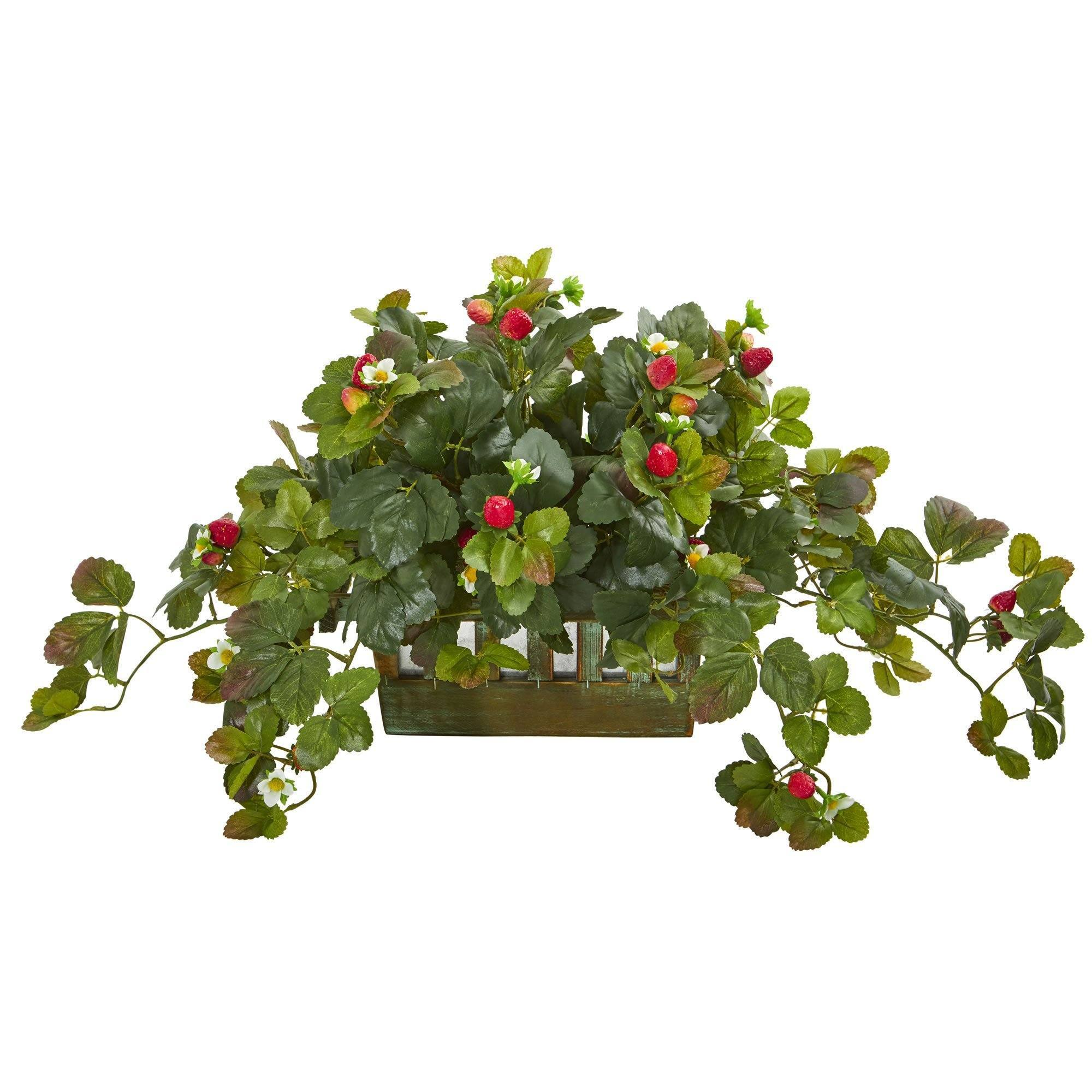 16 Strawberry Artificial Plant In Decorative Planter Nearly Natural