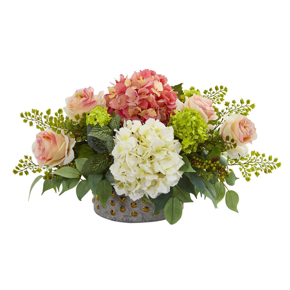 16 5 Rose Hydrangea And Maiden Hair Artificial Arrangement In