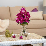 "17"" Bougainvillea Artificial Arrangement in Glass Vase"