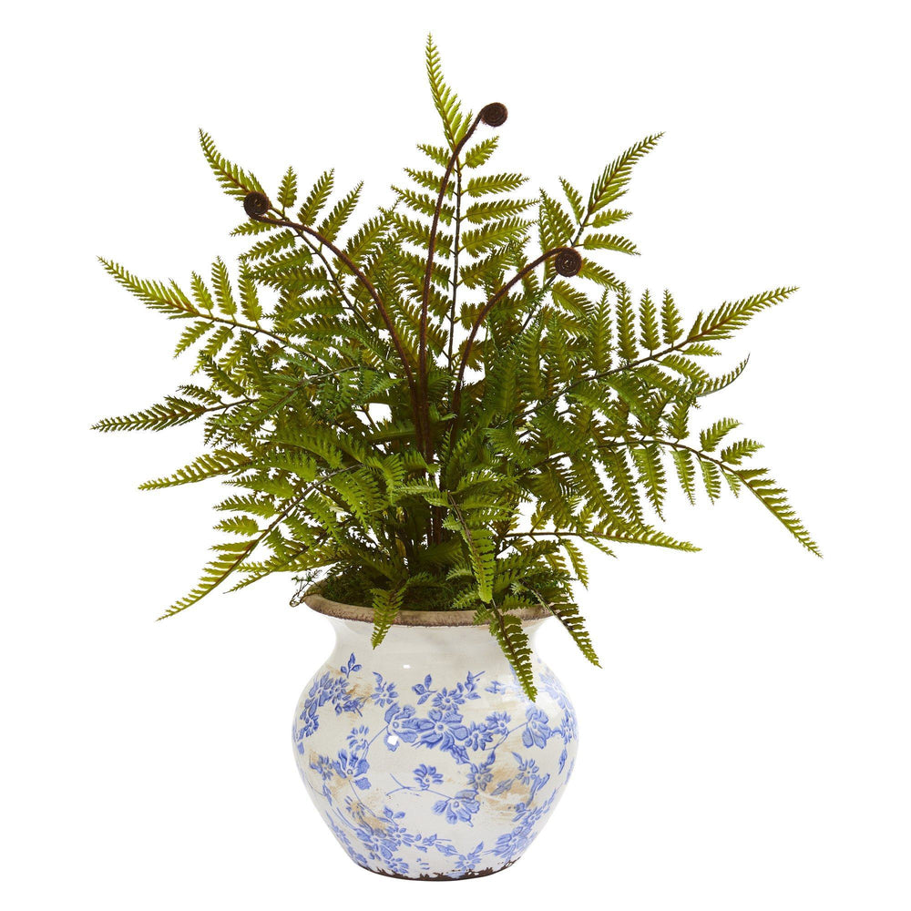 "17"" Fern Artificial Plant in Floral Planter"