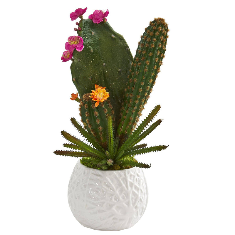 "17"" Mixed Cactus Artificial Plant in White Planter"