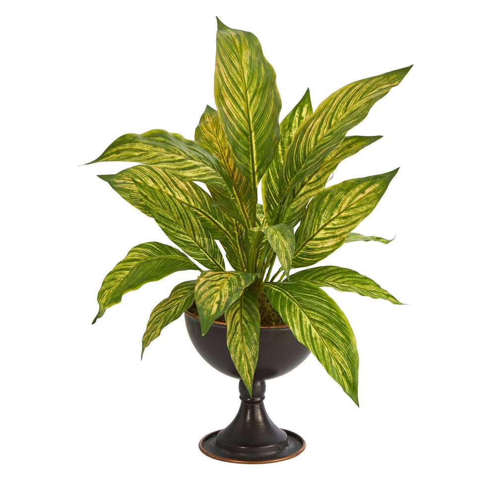 "17"" Musa Leaf Artificial Plant in Metal Chalice"