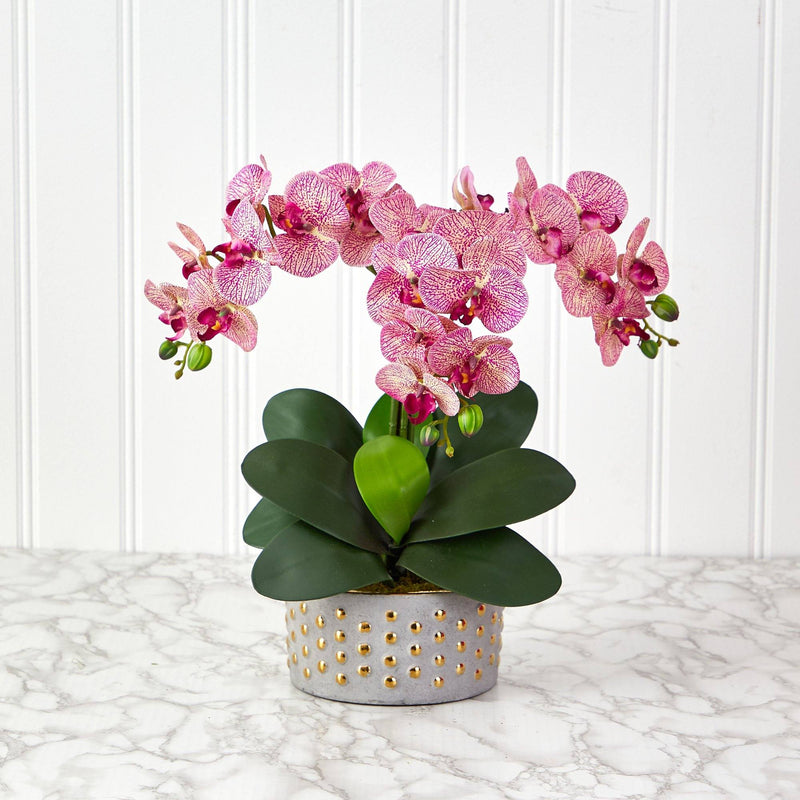 "17"" Phalaenopsis Orchid Artificial Arrangement in Bowl with Gold Trimming"