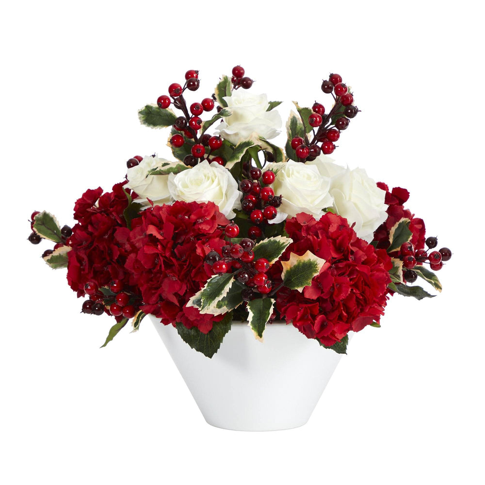 "17"" Rose, Hydrangea and Holly Berry Artificial Arrangement in White Vase"