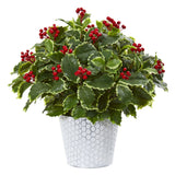 "17"" Variegated Holly Leaf Artificial Plant in Decorative Planter (Real Touch)"