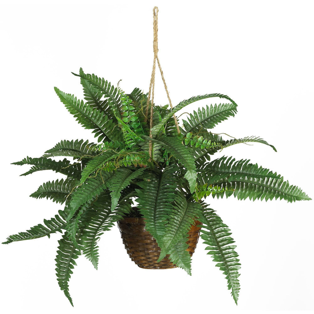 "18"" Artificial Boston Fern Silk Hanging Basket"