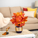 "18"" Autumn Maple Leaf Artificial Plant in Blue and Gold Planter"