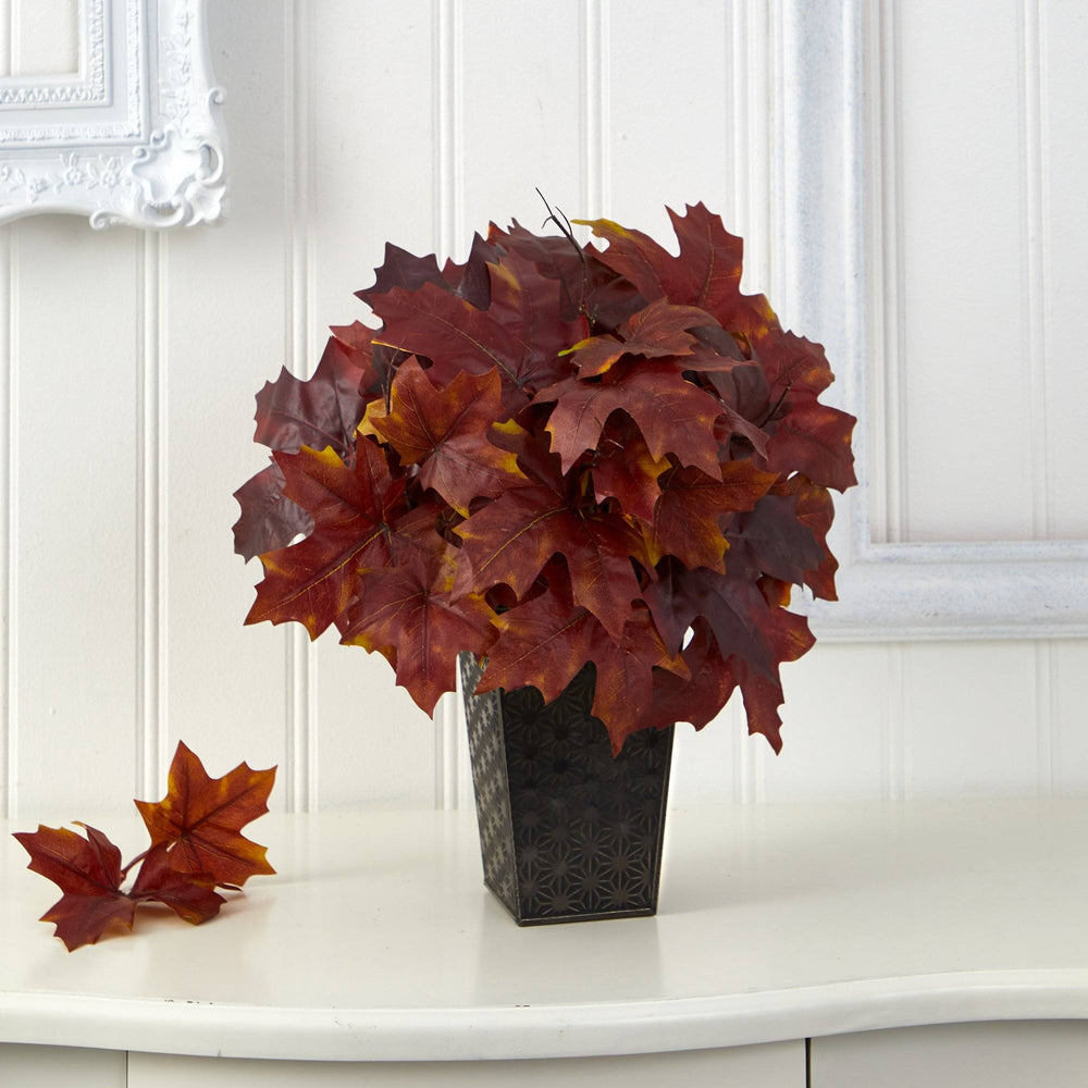 "18"" Autumn Maple Leaf Artificial Plant in Embossed Black Planter"