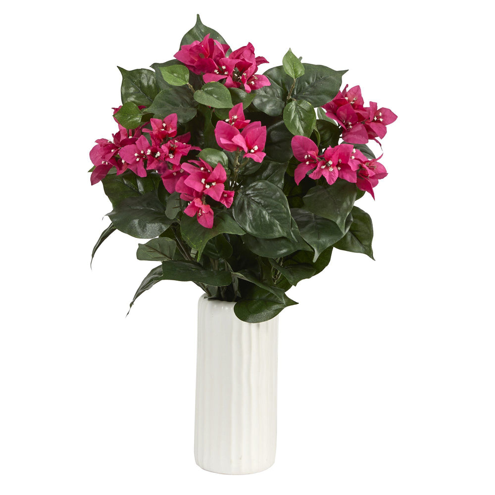 "18"" Bougainvillea Artificial Plant in White Planter"