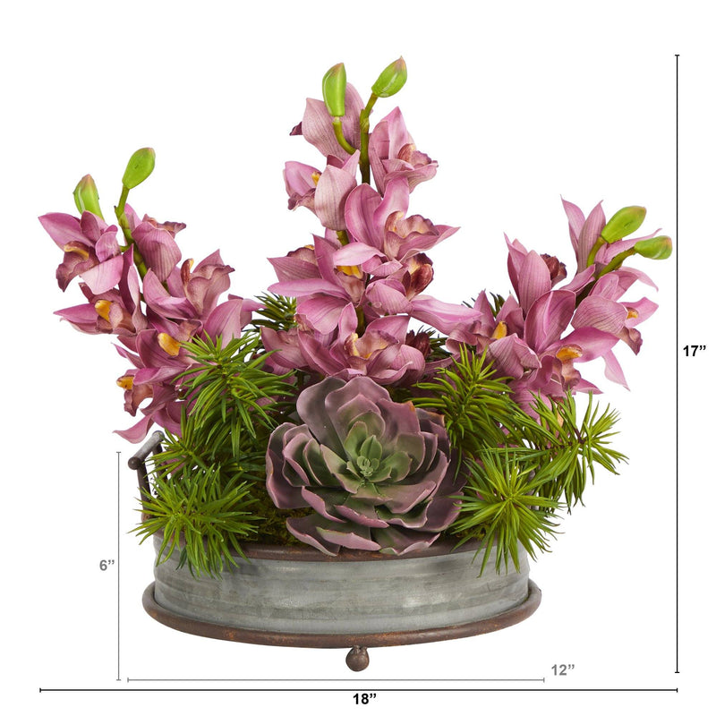 "18"" Cymbidium Orchid and Echeveria Succulent Artificial Arrangement in Metal Tray with Copper Trimming"