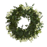 "18"" Eucalyptus and Dancing Daisy Double Ring Artificial Wreath with Twig Base"