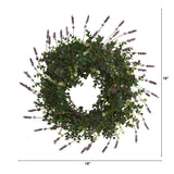 "18"" Eucalyptus and Lavender Double Ring Artificial Wreath with Twig Base"