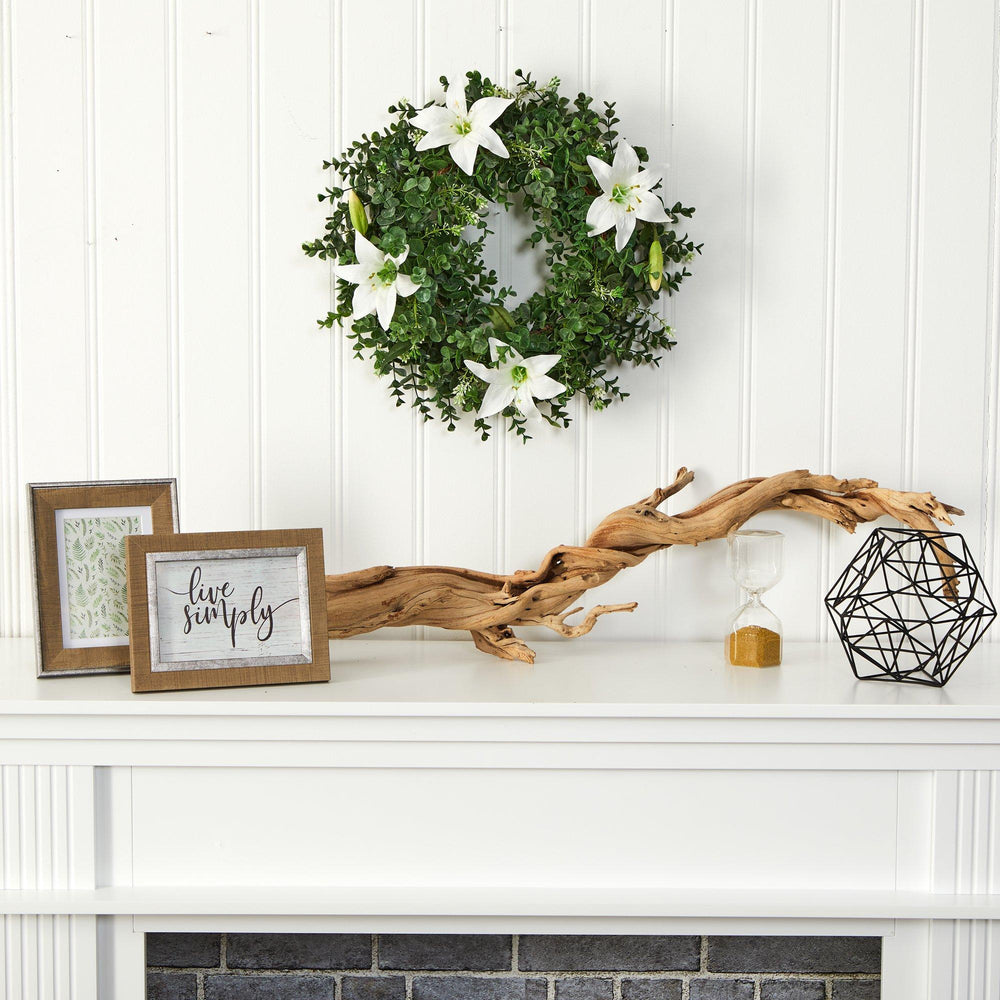 "18"" Eucalyptus and Lily Double Ring Artificial Wreath with Twig Base"