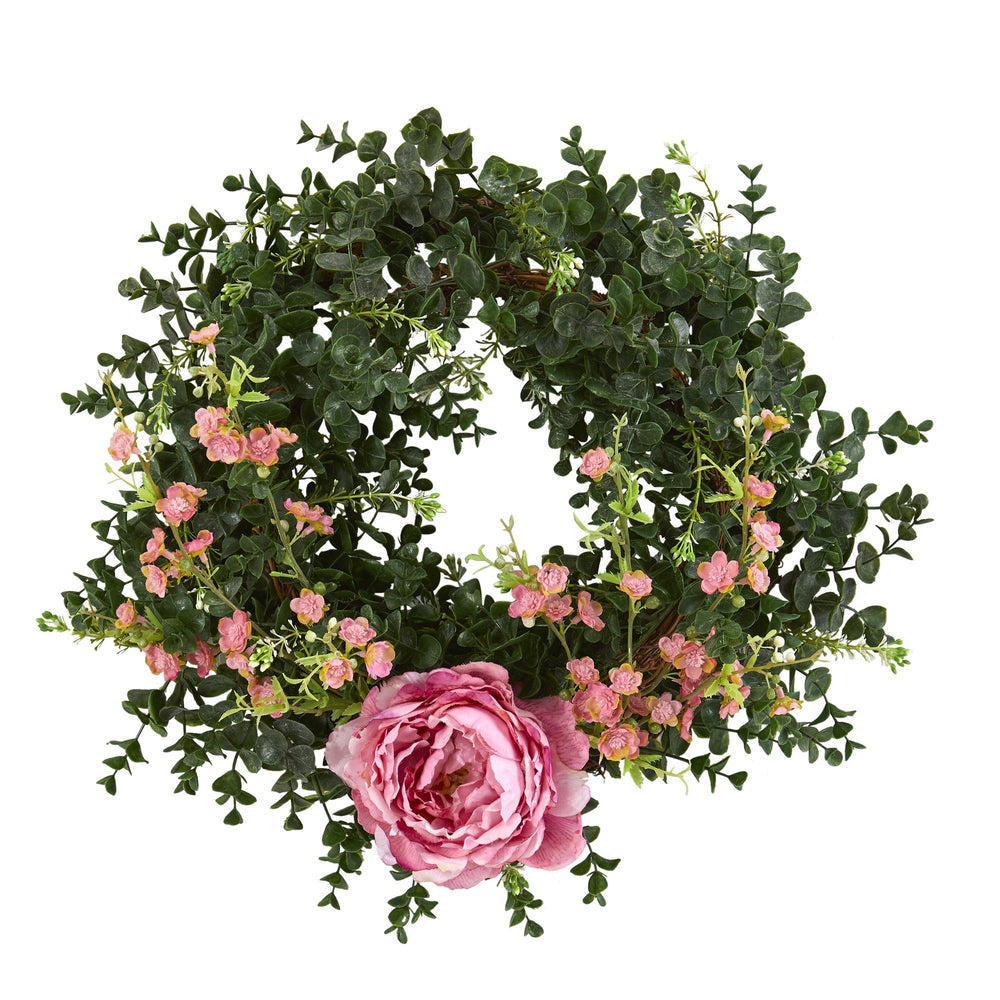 "18"" Eucalyptus, Cherry Blossom and Peony Double Ring Artificial Wreath With Twig Base"