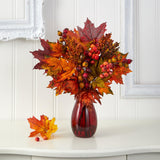 "18"" Maple Leaf and Berries Artificial Arrangement in Ruby Vase"