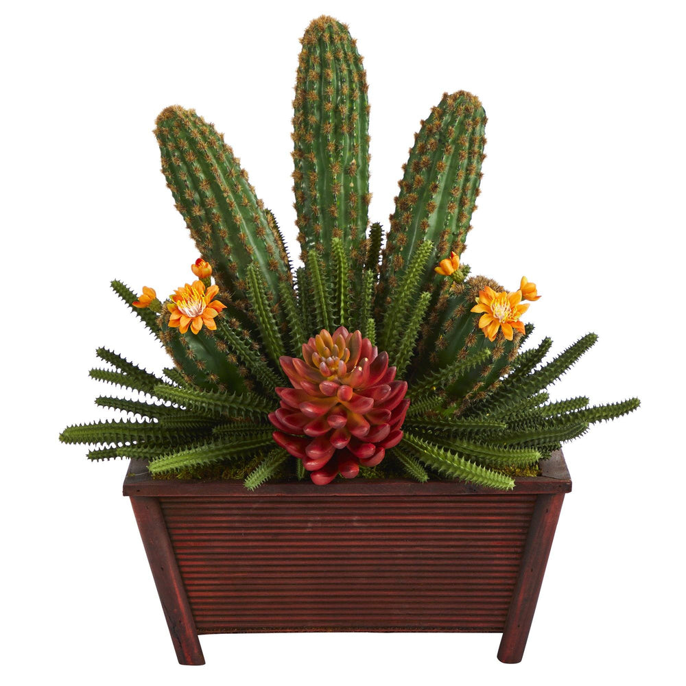 "18"" Mixed Cactus Succulent Artificial Plant in Planter"