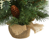"18"" Mixed Pine Artificial Christmas Tree with Holly Berries, Pinecones, 35 Clear LED Lights and Burlap Base"