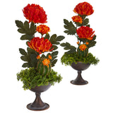 "18"" Mum and Cactus Artificial Arrangement in Metal Chalice (Set of 2)"
