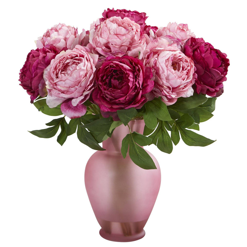 "18"" Peony Artificial Arrangement in Rose Colored Vase"