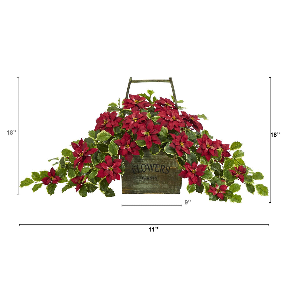 "18"" Poinsettia and Variegated Holly Artificial Plant in Vintage Decorative Basket (Real Touch)"