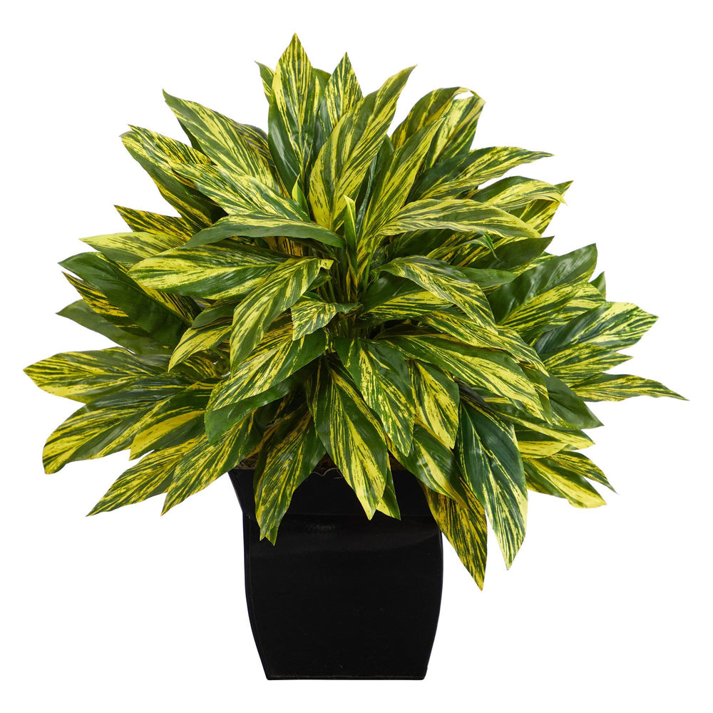 "18"" Tradescantia Artificial Plant in Black Metal Planter (Real Touch)"