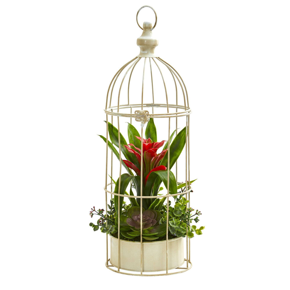 "19"" Bromeliad & Succulent Artificial Arrangement in Bird Cage"