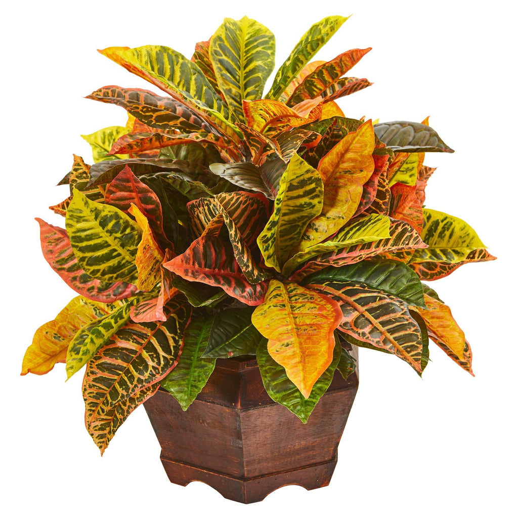 19 Garden Croton Artificial Plant In Decorative Planter Real Touch Nearly Natural