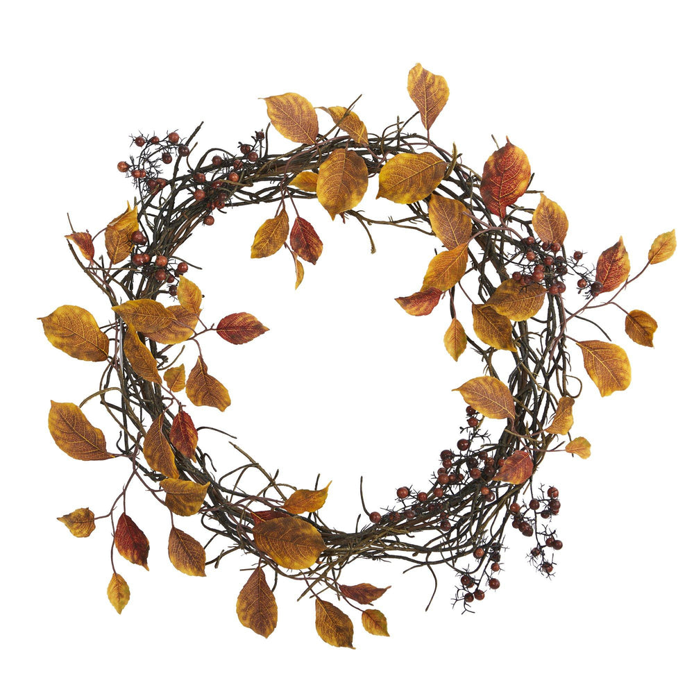 "19"" Harvest Leaf, Berries  and Twig Artificial Wreath"
