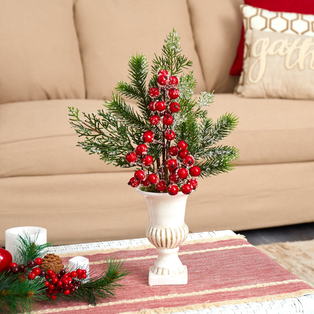 "19"" Iced Pine and Berries Artificial Arrangement in White Urn"