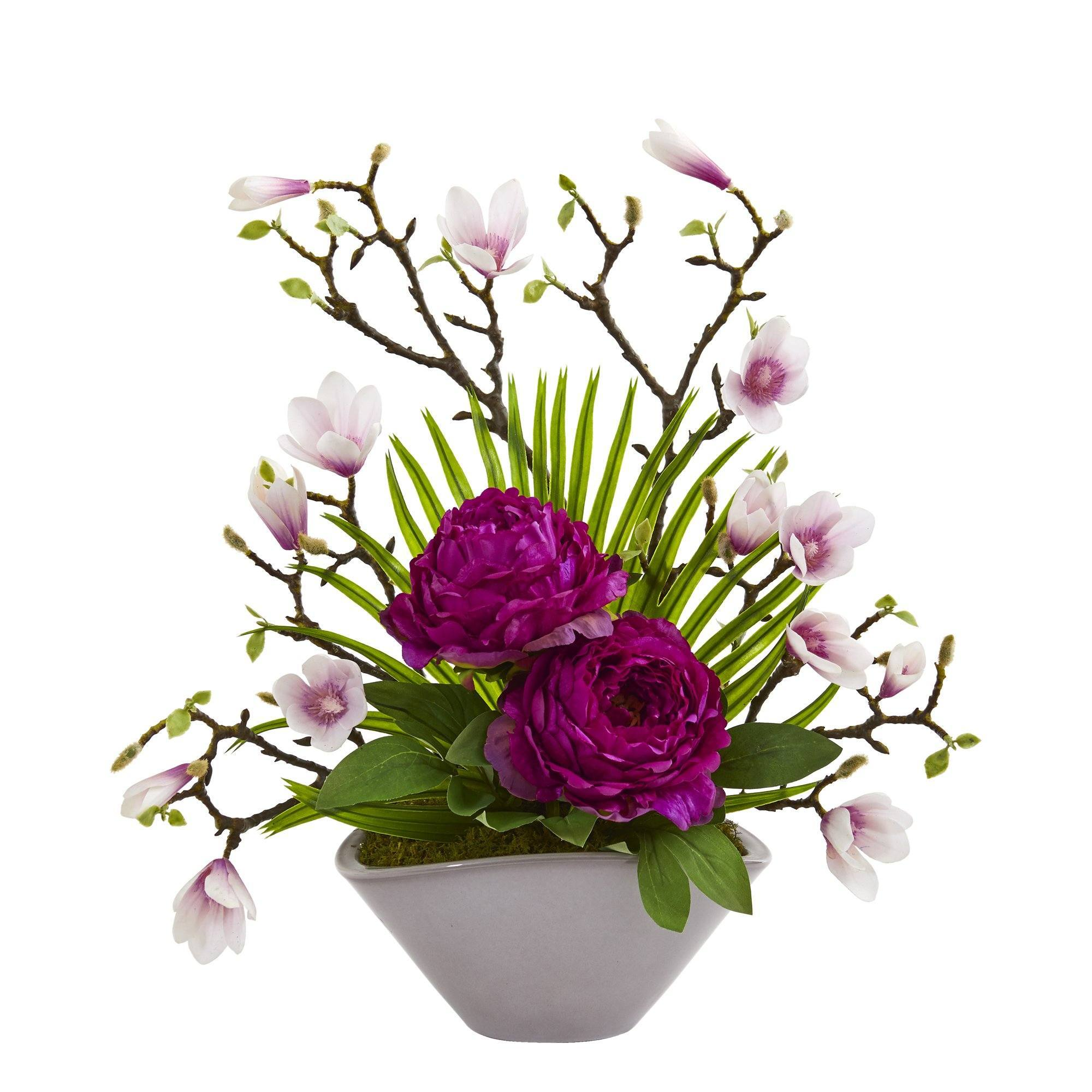 19 Peony Magnolia And Palm Artificial Arrangement In Vase Nearly Natural