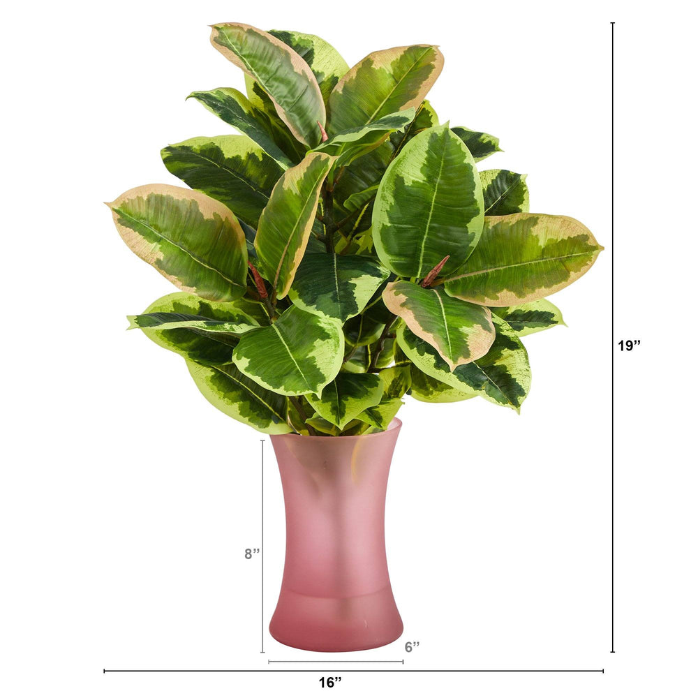 "19"" Rubber Leaf Artificial Plant in Rose Planter (Real Touch)"