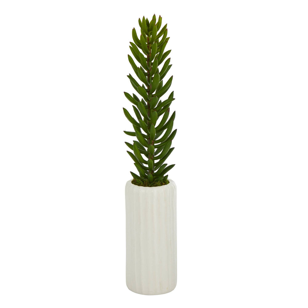 "19"" Succulent Artificial Plant in White Planter"