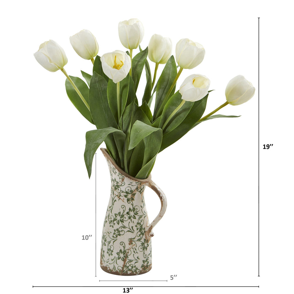 "19"" Tulip Artificial Arrangement in Floral Pitcher"