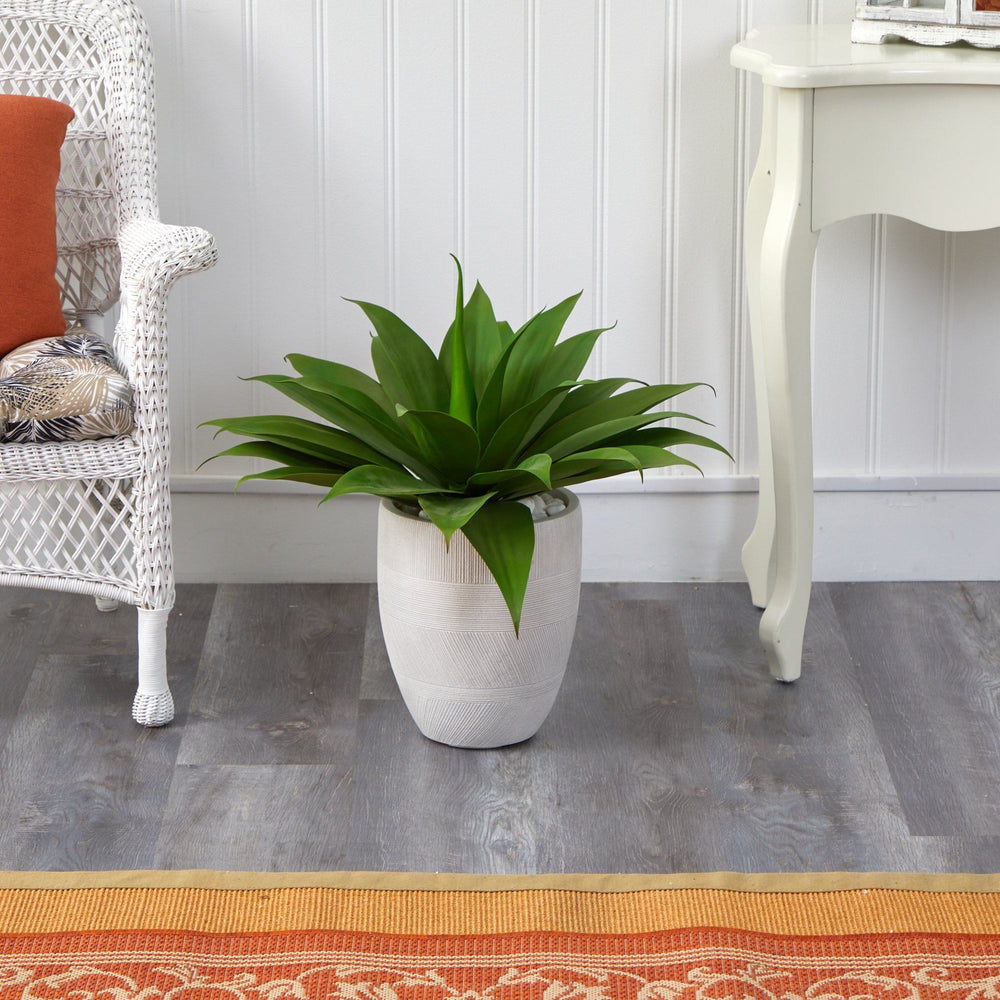 2' Agave Succulent Artificial Plant in White Planter