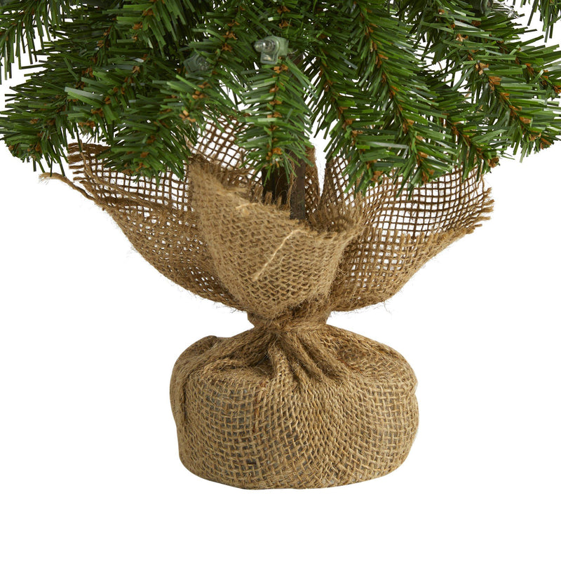 2' Alpine Artificial Christmas Tree with 35 Lights, 92 Bendable Branches and a Burlap Planter