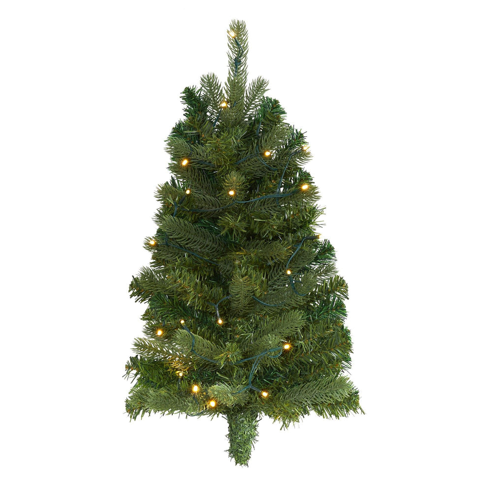 2' Flat Back Wall Hanging Artificial Christmas Tree with 20 Clear LED Lights