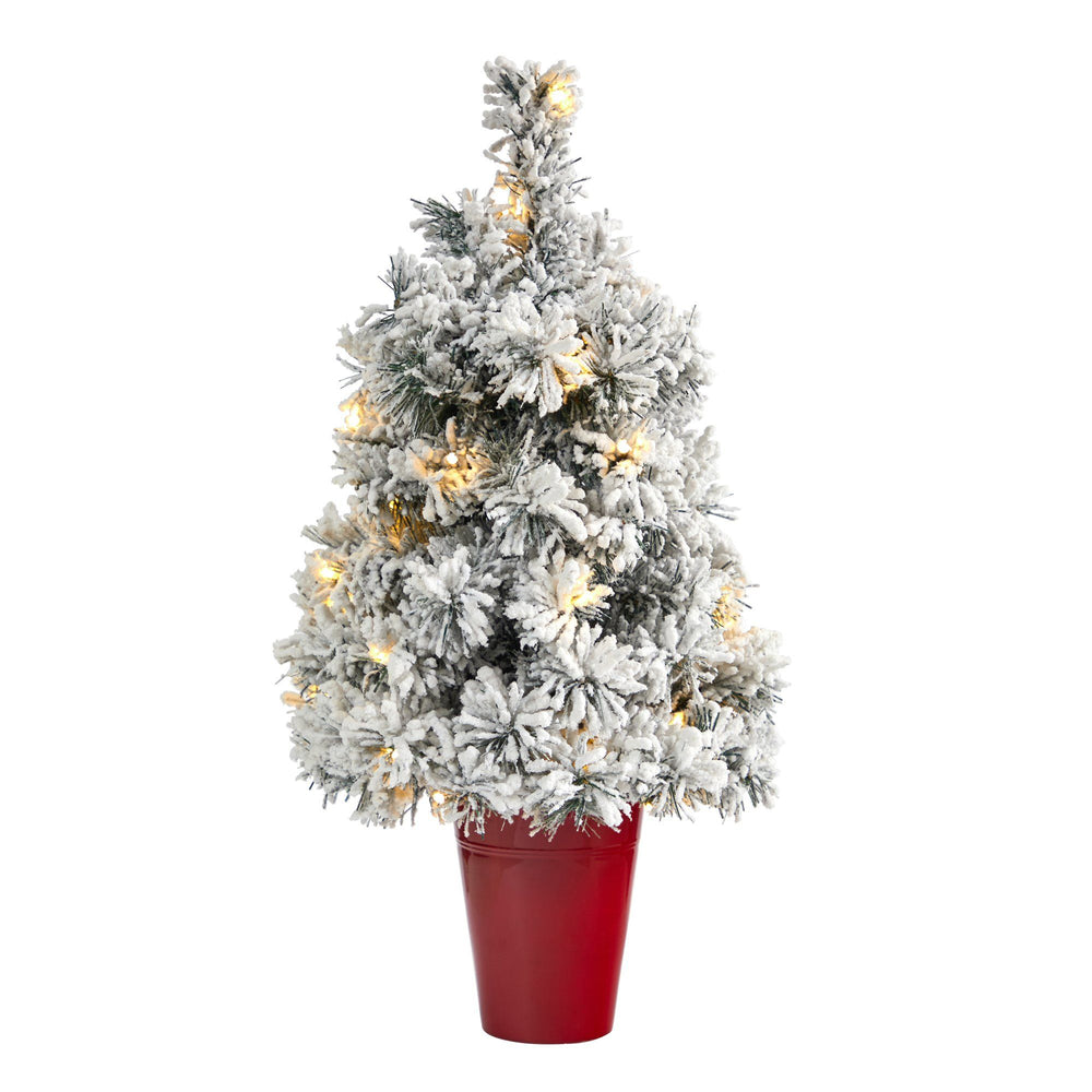 2' Flocked Artificial Christmas Tree with 30 Clear LED Lights in Burgundy Vase