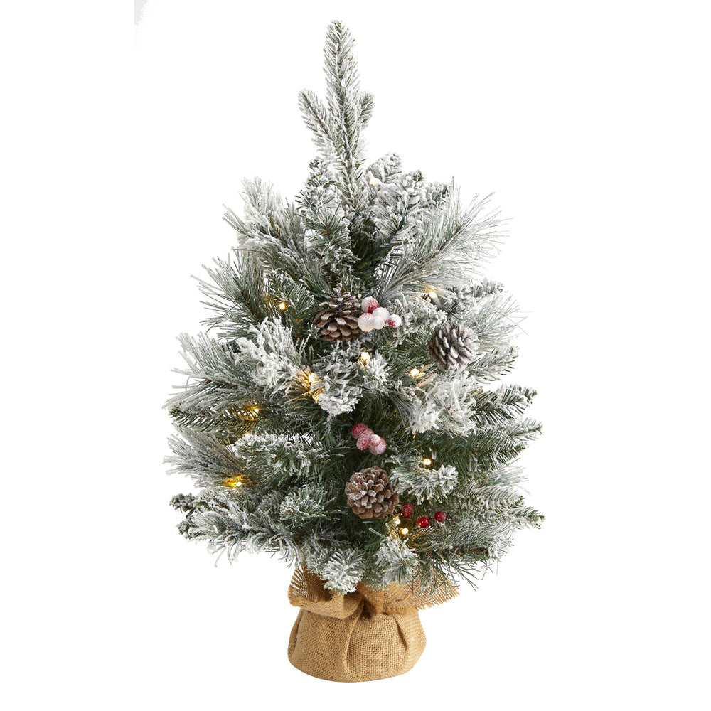 2' Flocked Artificial Christmas Tree with 30 Clear Lights, 73 Bendable Branches, Pine Cones and Berries