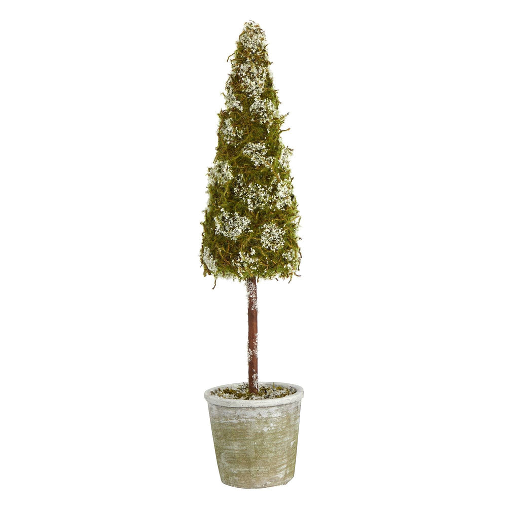 2' Flocked Moss Artificial Cone Tree in Decorative Planter