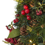 2' Mixed Berry and Pine Cone Artificial Christmas Tree with 35 Clear LED Lights