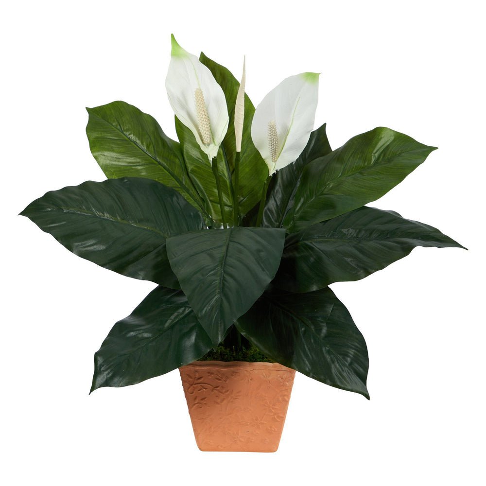 2' Spathiphyllum Artificial Plant in Terra-Cotta Planter