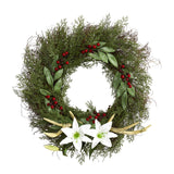 "20"" Cedar, Antlers, Lily and Ruscus with Berries Artificial Wreath"